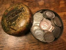 More details for 120 pure silver, solid silver threepenny coins pre-1921 in vintage pill tin