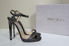 New sz 7 / 37 Jimmy Choo Claudette Silver Glitter Ankle Platform Sandal Shoes