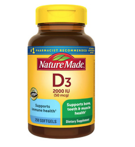 Nature Made D3 2000 IU (50 mcg), 250 softgels