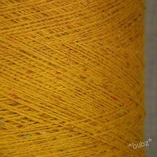 MERINO Wool Blend Oro & Rosso Fleck 500g CONO 10 GOMITOLI FILATO a 3 strati Knitting GIALLO