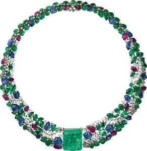 Green Carved Square Emerald Ruby & Sapphire White Gold Plated Colorful Necklace