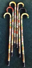W Rubber Tip Hand Carved Painted Wooden Mexican Walking Cane Stick Staff Aztec
