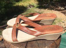 Island Hawaii 10 Women's Brown Leather Flip Flop Sandal Wedge Size 10M US