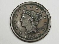 VF 1854 US Braided Hair Large Cent Coin.  #20