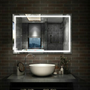 LED Illuminated Bathroom Mirror with LED Lights Demister Touch Sensor Wall Hung