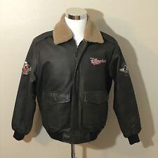 Disneyland Resorts Brown Leather Bomber Jacket Mickey Mouse Aviator Small Disney