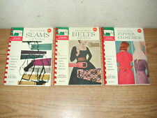 Lot Of 3 Singer Sewing Library Instructional Booklets: Zippers, Seams, Belts