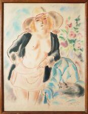 Femme nue grand dessin pastel de André DIGNIMONT (1891-1965) Régine chat