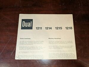 DUAL  TURNTABLE ORIGINAL Mounting Instructions for 1211, 1214, 1215, and 1218
