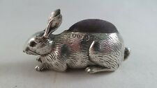 SUPERB CONDITION ANTIQUE SILVER RABBIT PIN CUSHION 1909