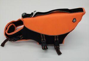 Arcadia Trail Life Flotation Aquatic Dog Vest Orange small Harness w Compass...c