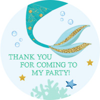 MERMAID THEME CIRCULAR BIRTHDAY SWEET CONE GIFT PARTY BAG SEAL STICKER  MER6