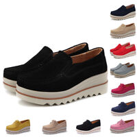 Womens Suede Leather Slip-on Comfort Wedge Loafers Platform Moccasin Plus Size