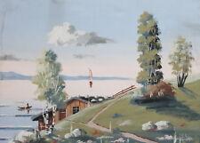 Vintage lake landscape gouache painting
