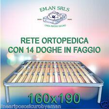 RETE ORTOPEDICA MATRIMONIALE CON 14 DOGHE IN LEGNO FAGGIO CON PIEDI AVVITABILI