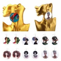 Vintage African Wooden Earring Handmade Woman Earrings Charm Jewelry Gifts