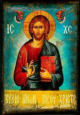 Handmade Wooden Greek Orthodox Aged Icon Painting Canvas Jesus Christ M3