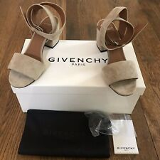 Givenchy $595 Camel Suede Ankle Wrap Sandals with Buckle, Size 36 5.5