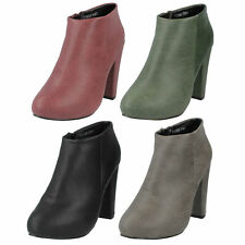 £5.99 LADIES ANNE MICHELLE BLOCK HEEL ZIP UP CASUAL ANKLE BOOTS SIZE F50006
