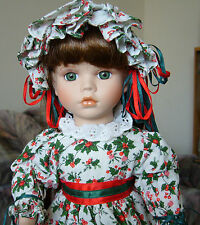 Porcelain Doll Christmas Holiday Holly Leaves Berries Old Fashioned Victorian