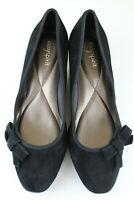 Easy Spirit Women's Shyma Wedge Pump Shoes Heels Black Suede Size 8.5 M Slip On