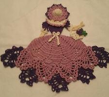 Crochet Crinoline Lady Doily with Basket - Purple