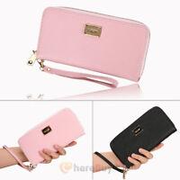 Women Lady Zipper PU Leather Clutch Coin Phone Bag Long Purse Wallet Card Holder