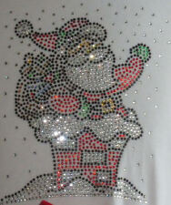 "5.5"" Christmas Santa iron on rhinestone transfer DIY applique decal patch"