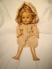 "13"" Ideal SHIRLEY TEMPLE Doll 1930s, Composition sleepy eyes teeth silk clothes"
