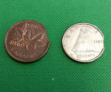 1962 10 cents canada clipped 1969 small cent canada clipped