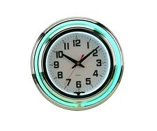 "15"" Green And White Neon Clock Double Neon Wall Clock New"