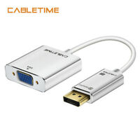 Cabletime DisplayPort To VGA Adapter 1080P DP To VGA Converter for Laptop HDTV