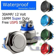 30 Amp Metal Momentary Waterproof Switch 12v16mm 58 Horn Starter Nitrous Button