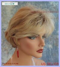 FLIPPED OUT CUTE SHORT SHAG BLONDE ROOTED WIG 12FS8  *NEW IN BOX WITH TAGS