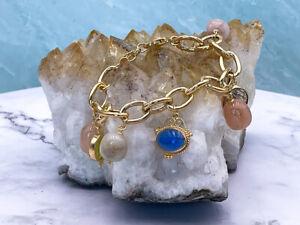 TAGLIAMONTE Designs (1287) 925SS/YGP Venetian Cameo Charm Bracelet