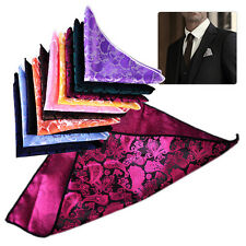 10pcs Men Handkerchief Silk Pocket Square Paisley Polka Hanky Wedding