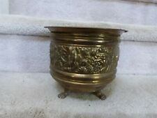 "VINTAGE Brass Repousse Embossed Roses Peerage England Footed Planter 6.75""T"
