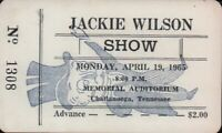 JACKIE WILSON 1965 TOUR UNUSED CHATTANOOGA AUDITORIUM CONCERT TICKET / NM 2 MNT