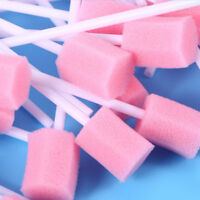 100pcs Disposable Oral Care Sponge Swab Tooth Cleaning Mouth Swabs w/ Stick Pink