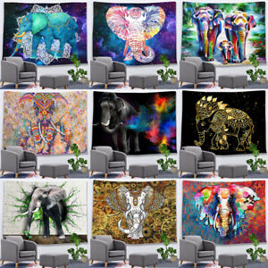 Rainbow Art Hippie Bless Elephant Tapestry Mandala Animal Wall Hanging Bed Cover