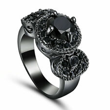 Size 6 Black Rhodium Solitaire Wedding Ring Cluster Birthday Propose Cocktail