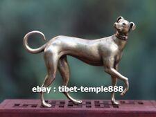 6.5 CM Chinese Pure Bronze Zodiac Animal Amulet Beast Whippet Dog Art Sculpture