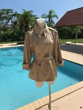 RALPH LAUREN BLACK LABEL DOUBLE BREASTED BEIGE SHORT BELTED TRENCH COAT Sz 14