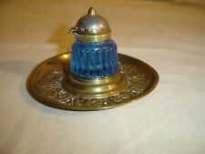 Antique Brass Embossed Inkwell Stand Blue Glass Fluted Inkwell 278