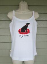 Hatley Womens White Red Black Cute Dog Tired Tank Top or Sleep Shirt L