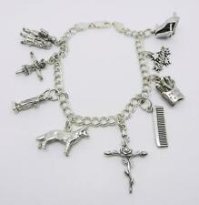 """VINTAGE STERLING SILVER DOUBLE CURB CHARM BRACELET WITH 7-CHARMS 8""""  - LB-C1350"""