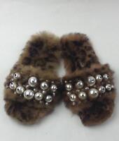 MIU MIU Genuine Rabbit Fur Slide Sandal sz 36