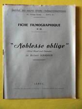 cinéma IDHEC fiche 45 Noblesse Oblige de Robert Hammer par M. Benasseras