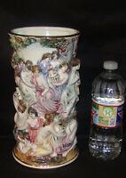 R Capodimonte Porcelain Vase Roman Bath Raised Nude Figures Hand Painted Italy