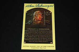 Charlie Gehringer Detroit Tigers Signed Yellow HOF Plaque Postcard-NM